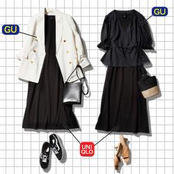 【全身GU&ユニクロで】梅雨の「大人モノトーンコーデ」【黒ワンピを着回し!】