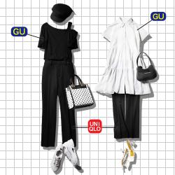 【全身GU&ユニクロで】梅雨の「大人モノトーンコーデ」【黒パンツを着回し!】