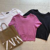 【ZARA】話題のクロップド丈Tシャツをイロチ買い【コーデ付き】